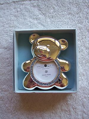 BNIB Baby Boy's Silver & Blue Teddy Photo Frame Christening Gift Baby Gift