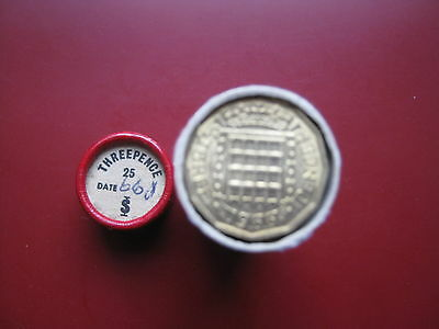 UK British 1966 Pre-decimal 25x 3 Pence Threepence UNC coins in red tube