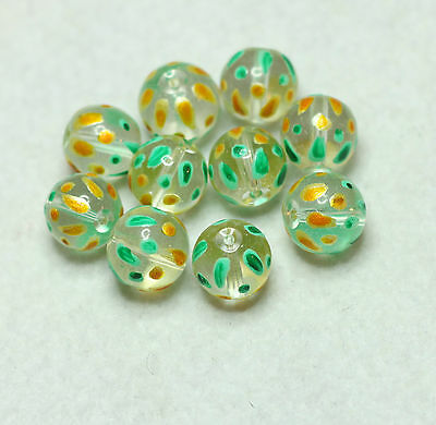 10 HAND PAINTED INDIAN GLASS BEADS 12mm ROUND CLEAR/GREEN/GOLD (BBB621)