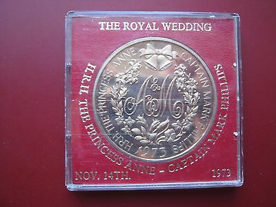 UK 1973 Royal Wedding Princess Anne & Captain Mark Phillip Bronze Medal cased