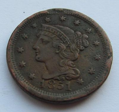 USA Coronet Cent dated 1851 - Good corroded filler coin