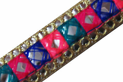 "1"" W New Indian Fancy Cotton Trims Embroidered Craft Floral Lace Collectible"