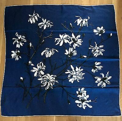 Beautiful Vintage Floral Large Soft Cotton Scarf Hand Sewn Hems Ex Condition