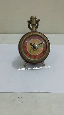 "Nautical Maritime desk clock Nautical  Brass Table Clock 3 "" Red leather clock"