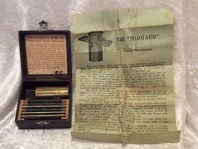 """""""Midgard"""" Antique Brass Pocket Microscope W/Slides ~ Made In Germany"""