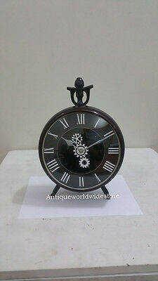 Collectible Beautiful  Nautical  Black Clock 8'' Antique look Home decor Table