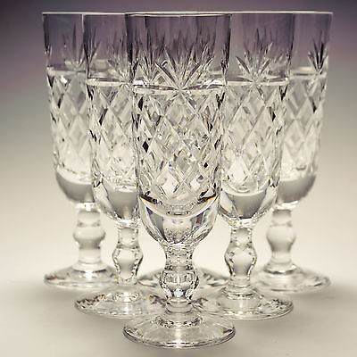 Royal Brierley Crystal Bruce Oxford 6 Six Champagne Flutes Glasses