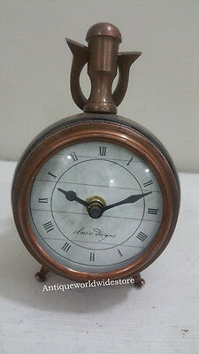 Beautiful Round copper with leather Decorative Nautical Table Clock