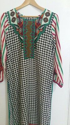 New/beautiful/winter/kurti/kurta/Indian/asian/pakistani/green/printed/kameez/