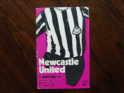 1971/72  NEWCASTLE UNITED v HEREFORD UNITED  FA CUP 3rd Rd PROGRAMME  15/01/1972