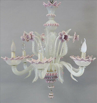 Unusual pink MURANO Glass art Chandelier Mid century retro 6 arms 1960's