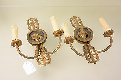 PAIR antique french brass portrait heads wall lights sconces