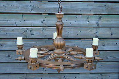 Antique FLemish wood carved wheel chandelier