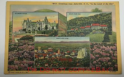 1948 Greetings From ASHEVILLE NC Curt Teich Linen BIRDS EYE Biltmore Postcard