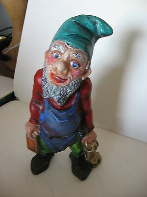 Vintage Cast Iron Gnome With Keys And Lantern ~ Maybe A Bank
