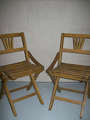 Vintage Wooden Folding Dolls Display Chair Two Available