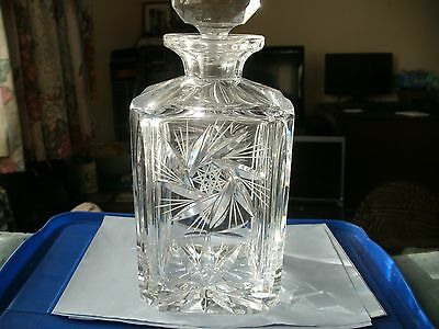 Lead Cut Crystal Whisky Decanter 9 1/2 Inches High