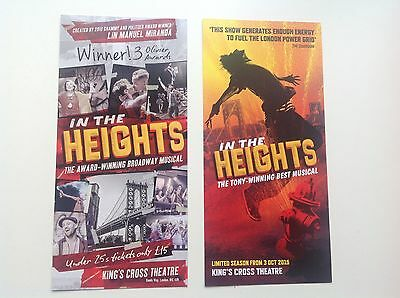 2x  different flyer / handbill IN THE HEIGHTS King's Cross Theatre