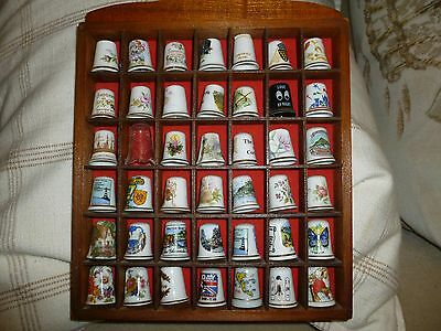 Wooden Thimble wall display box with assorted  thimbles