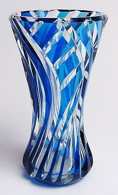 Val St Lambert Signed Blue And Clear Art Glass Vase