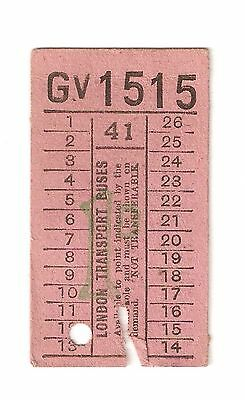 Old Ticket For The London Transport Buses Service Number 41