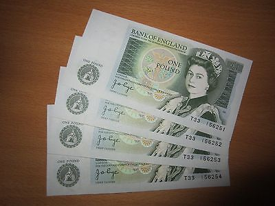 Unc £1 Notes J B Page 4 Consecutive Serial Numbers