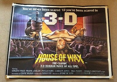 The House of Wax 3D - Original UK Quad Poster 1982 Horror Vincent Price