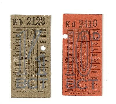 2 1930s TICKETS FOR HANTS & DORSET MOTOR SERVICES LONDON TRAM EXHIBITION 1932