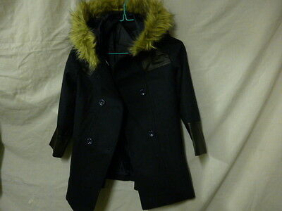 Girls Coat, Patched, Faux Fur Rimmed Hood 7-8 years 128cm