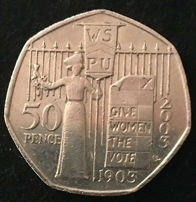 2003 100th Anniversary WSPU Give Women the Vote 50p 50 Pence Coin