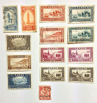 French Morocco 14 mint/used stamps including an overprint.