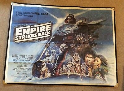 Original British Quad Cinema Poster Star Wars Empire Strikes Back - 1980