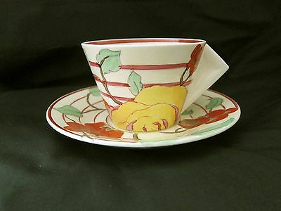 Clarice Cliff ~ Rare Art Deco Bizarre 'amber Rose' Conical Cup & Saucer Duo
