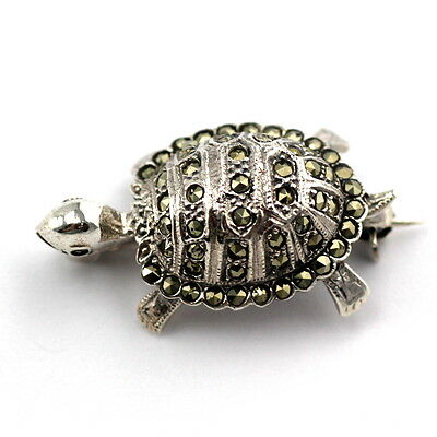 Art Deco Inspired Marcasite Turtle Turquoise Brooch 925 Solid Sterling Silver