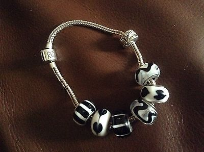 Rhona Sutton Sterling Silver Bracelet With Black / White Glass Beads
