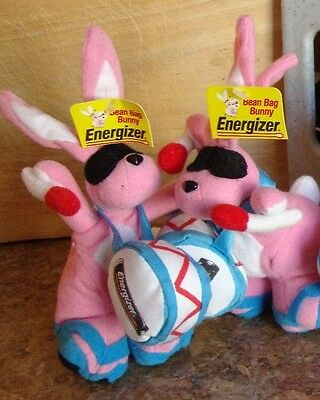 """2 new ENERGIZER BUNNY PLUSH BEANBAG 7"""" tall Stuffed Animal Toy Collectible"""
