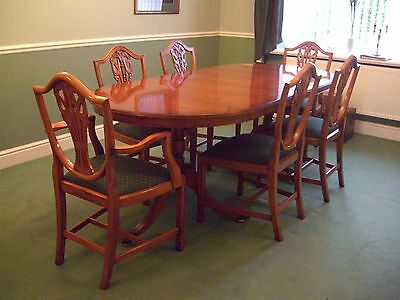 Regency Style Yew Wood Table with 6 Chairs