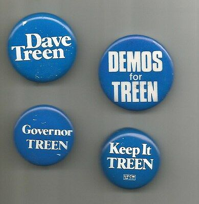 4 Diff. 1979 & 1983 David Treen for Louisiana Governor Republican Buttons Pins