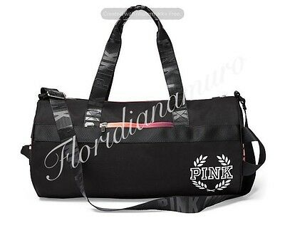 New Victoria's Secret PINK Gym Duffle Tote Bag Logo Black Gradient Ombre NWT