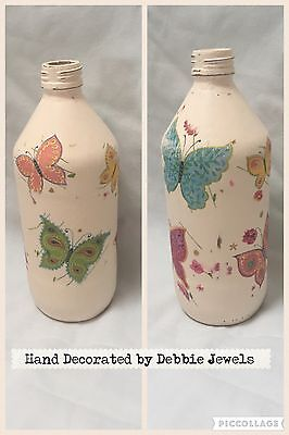 shabby chic Vintage hand decorated glass Butterfly Bottle Wedding Decoration