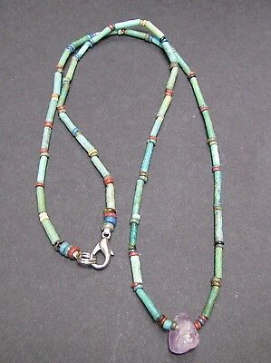 NILE  Ancient Egyptian Amethyst Amulet Mummy Bead Necklace ca 600 BC