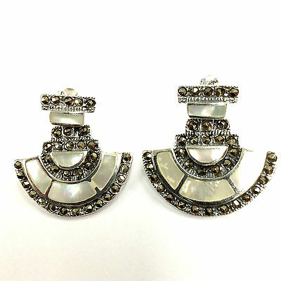 Beautiful Art Deco Inspired Mother Of Pearl Marcasite Earrings Sterling Silver