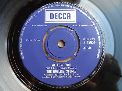 """The Rolling Stones We Love You 7"""" Single Decca 1967 Ex Condition.."""