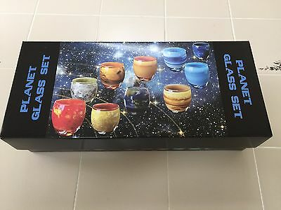 NEW Planetary Glass Set Solar System 10 Glasses Astronomy Astrology NIB