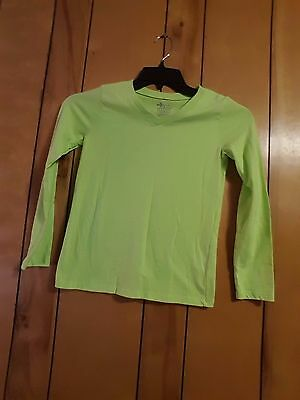 Girl Size 10-12 Long Sleeve Lime Green T-Shirt Old Navy