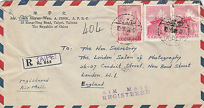 K 1379 Taiwan registered airmail 1962 cover to the UK
