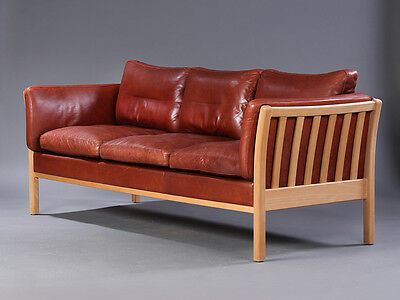 Vintage Danish Borge Mogensen Style Cognac Leather / 3 Seater Sofa • £525.00