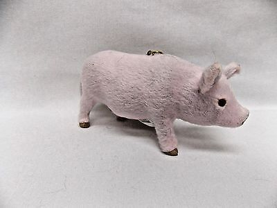 Pink Pig Soft Furry Body Figurine Christmas Tree Ornament 5 In String to hang