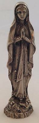 Vtg Catholic Our Lady of Lourdes Pewter Figure Hand Carved Made Italy Religious