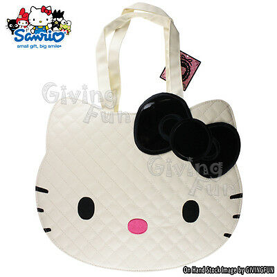 GENUINE JAPAN Sanrio Hello Kitty Big Face Shoulder Tote Carry Bag - Ivory White